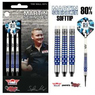Bull's NL Softtip Martin Schindler The Wall 80% PCT Blue | Darts Warehouse
