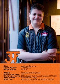 Justin van Tergouw Handtekening Kaartje 2018 | Darts Warehouse