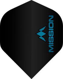Mission Logo 100 Std. Black Blue Dartflight | Darts Warehouse
