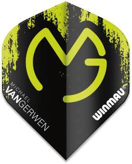 Mega Standard MvG Black-Green Winmau Flights | Darts Warehouse