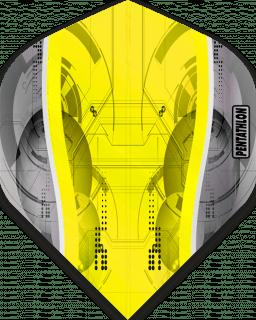 Pentathlon Silver Edge Yellow   McKicks Flights   Darts Warehouse